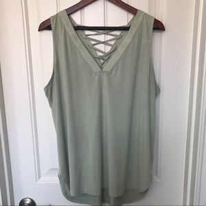 Cato Green Criss Cross Back Faux Suede Blouse